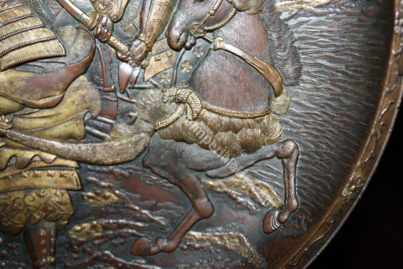Antique Imperial Arts Japanese Samurai Bronze Tray With